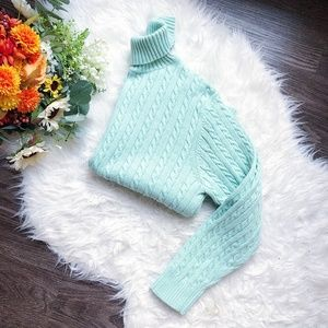 MINT GREEN CABLE KNIT TURTLENECK SWEATER